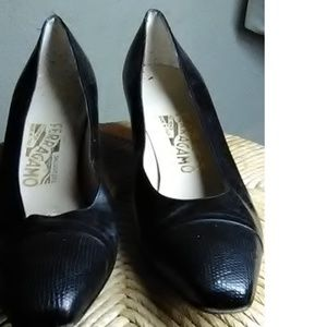 "Ferragamo  Black leather 2 1/2"" Heels Size 9 1/2 A"